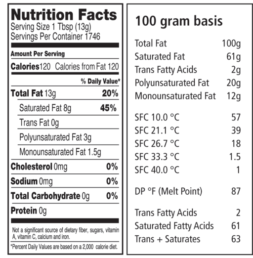 212 specialty shortening nutritional panel and sfc information