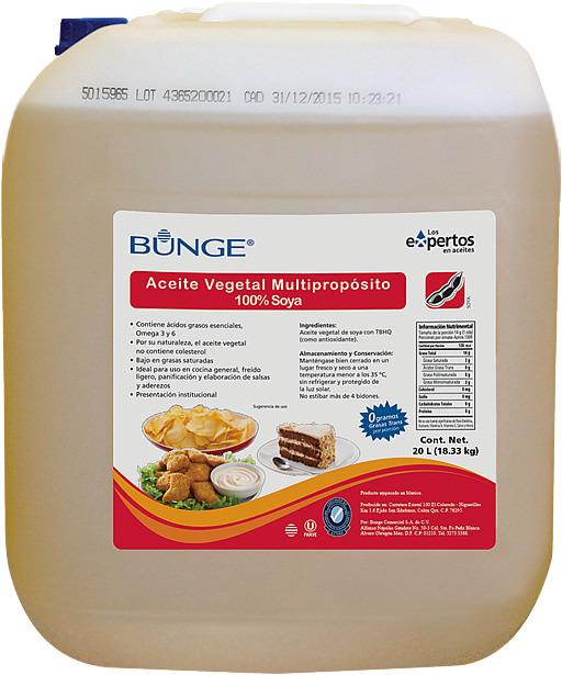 Bidó de Aceite Vegetal 100% de Soya Multipropósito.