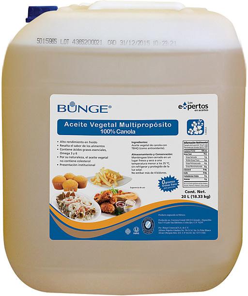 Bidón de Aceite Vegetal 100% de Canola Multipropósito.